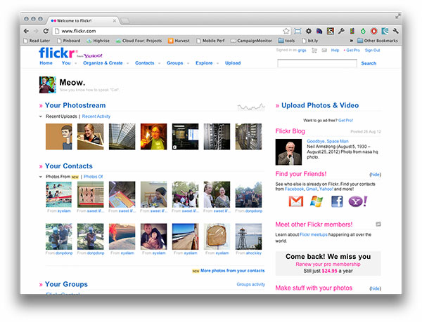Screenshot of Flickr home screen for a logged in user. Shows lots of smaller images.