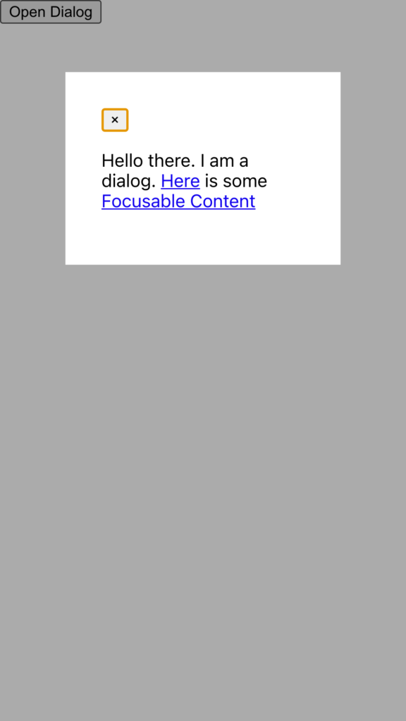 Screenshot of demo showing page with modal open